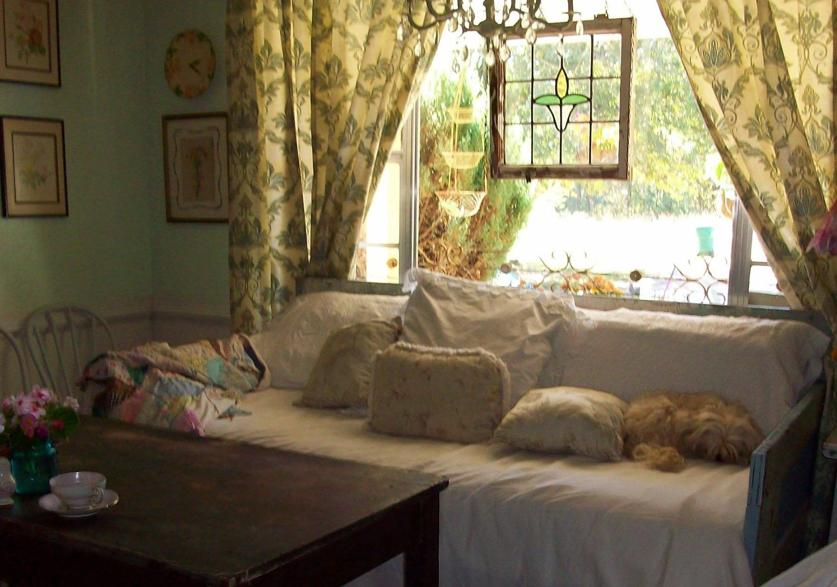 Living room window ideas  daybed made out of doors  doors shutters and window ideas