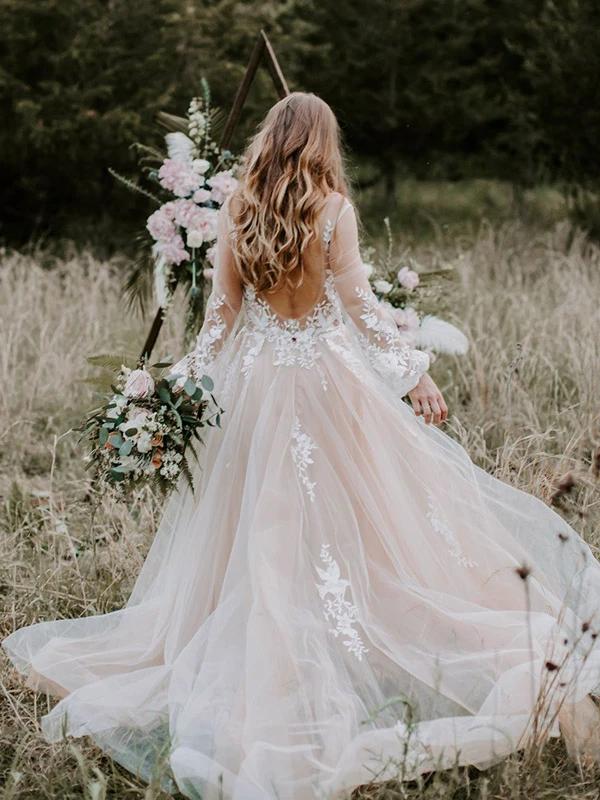 Chic Lace Embroidery Long Sleeve Bohemian Wedding Dress Open Back Rustic Wedding Dress Pin7192 Bridesmaid Dresses Ireland Ethereal Wedding Dress Beach Wedding Gown