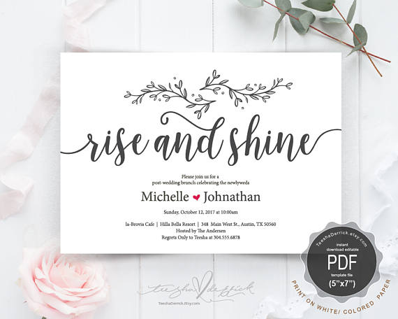 Post Wedding Brunch With Newlyweds Invitation Card Pdf Editable Template Rise And Shine Rustic Ins Post Wedding Brunch Wedding Wedding Invitation Card Design