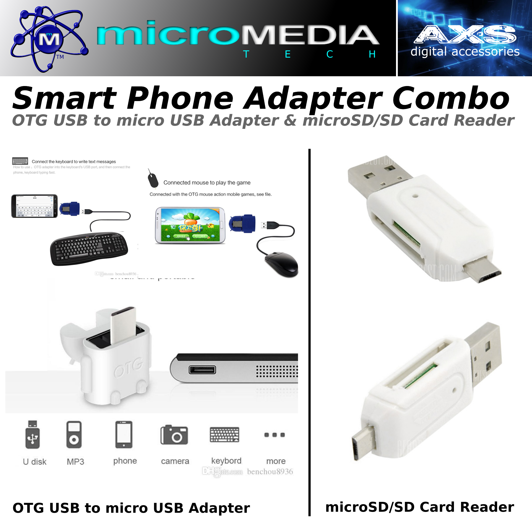 Phone Adapter Kit -Phone Media Card Reader & USB OTG Adapter