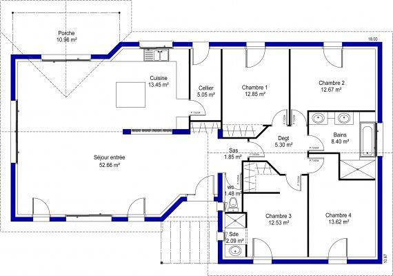stella Belles maisons Pinterest Construction, Bungalow and House - plan de maison de 100m2 plein pied