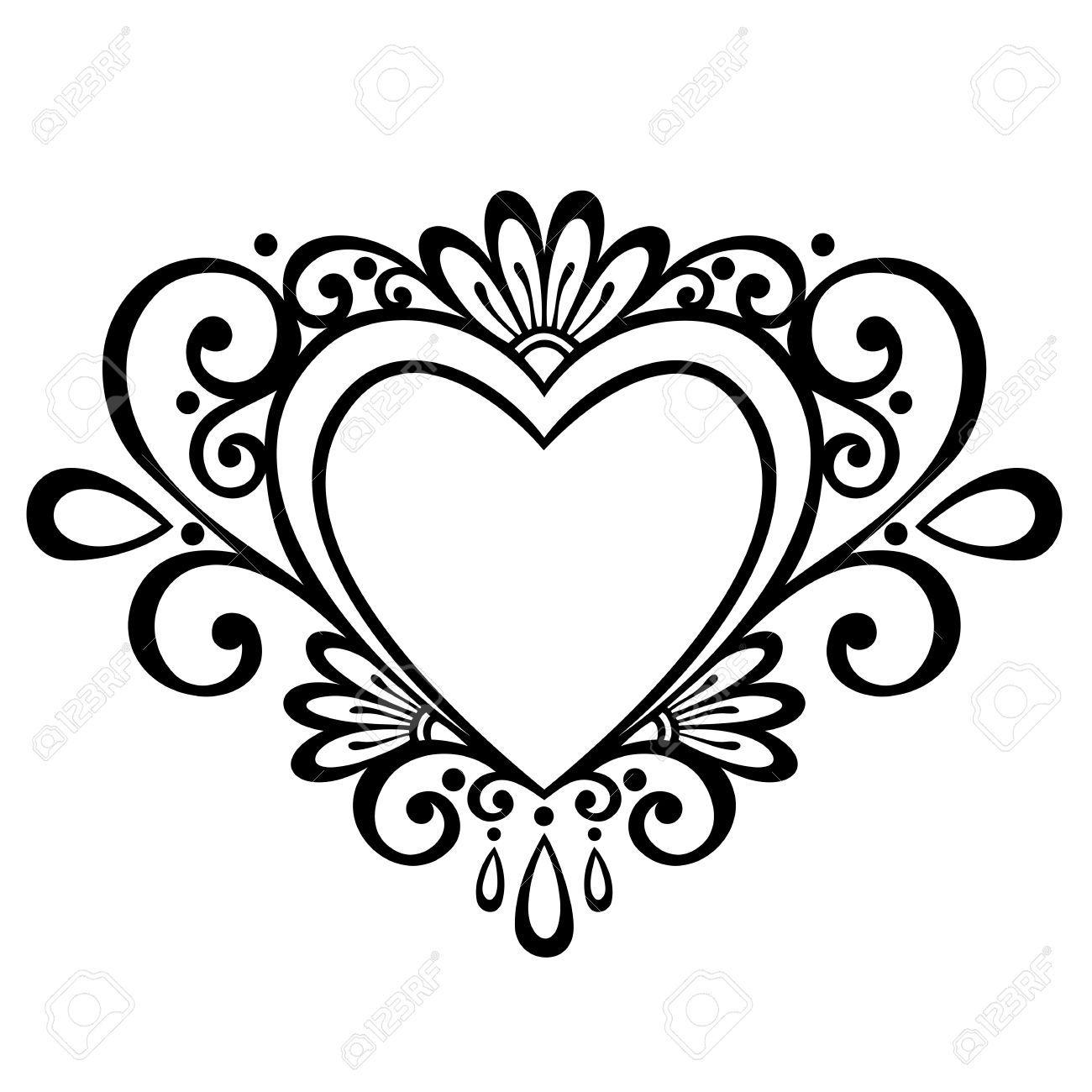 Line Drawing Heart Shape : Afbeeldingsresultaat voor hart ornamenten vector herzen