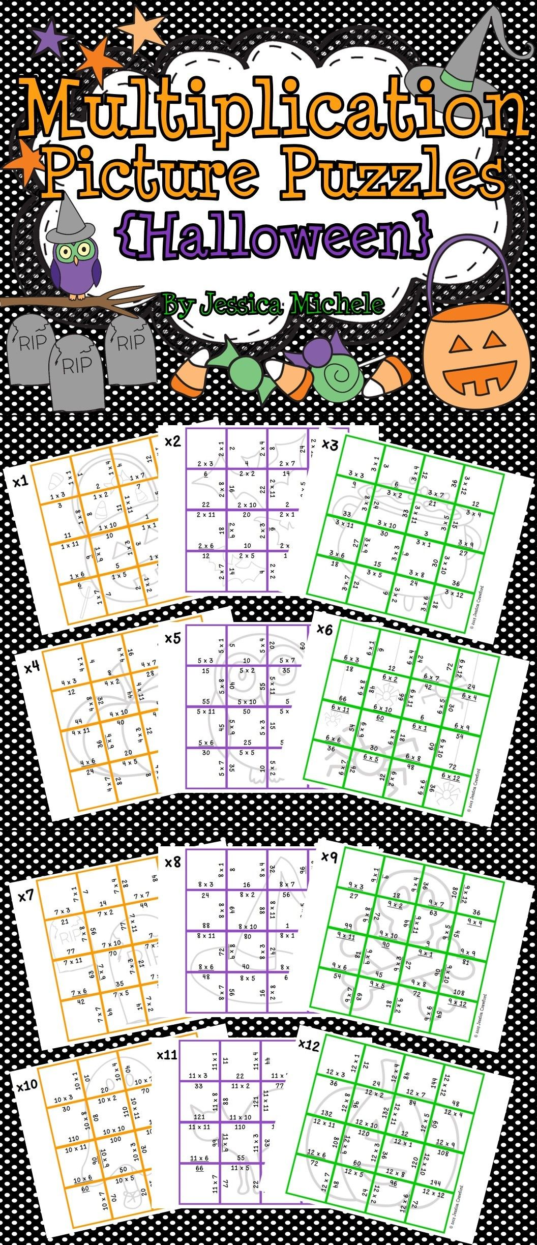 Multiplication Picture Puzzles Halloween
