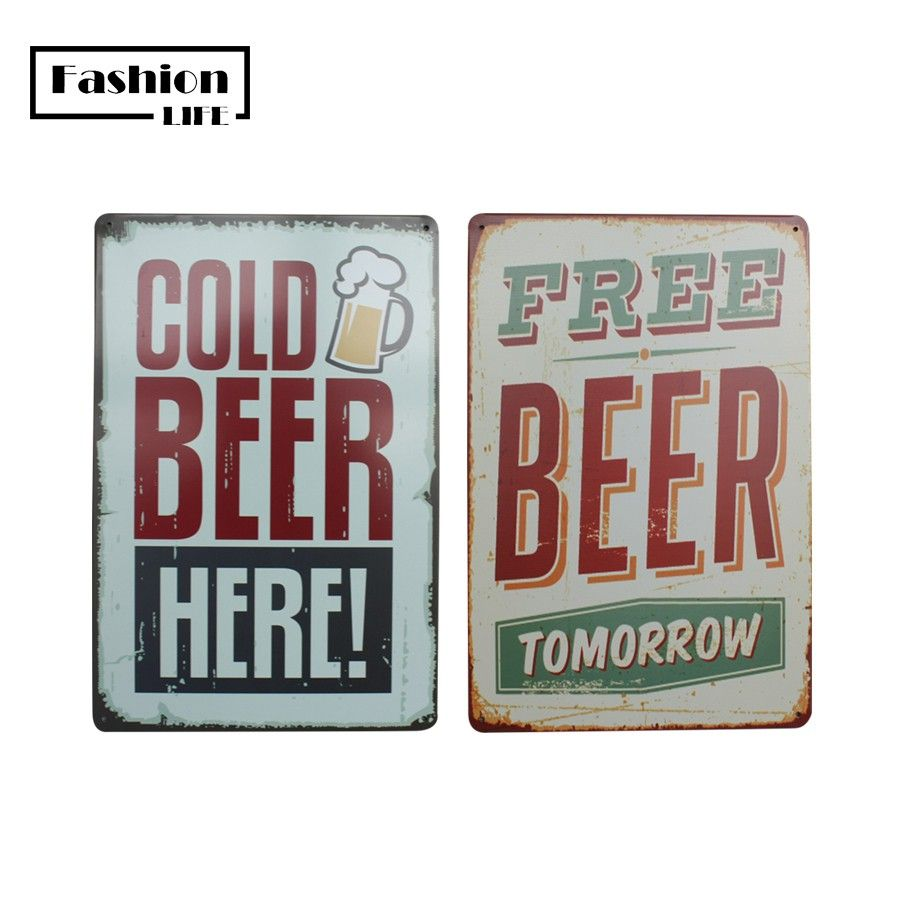 new beer set chic home bar vintage metal signs home decor