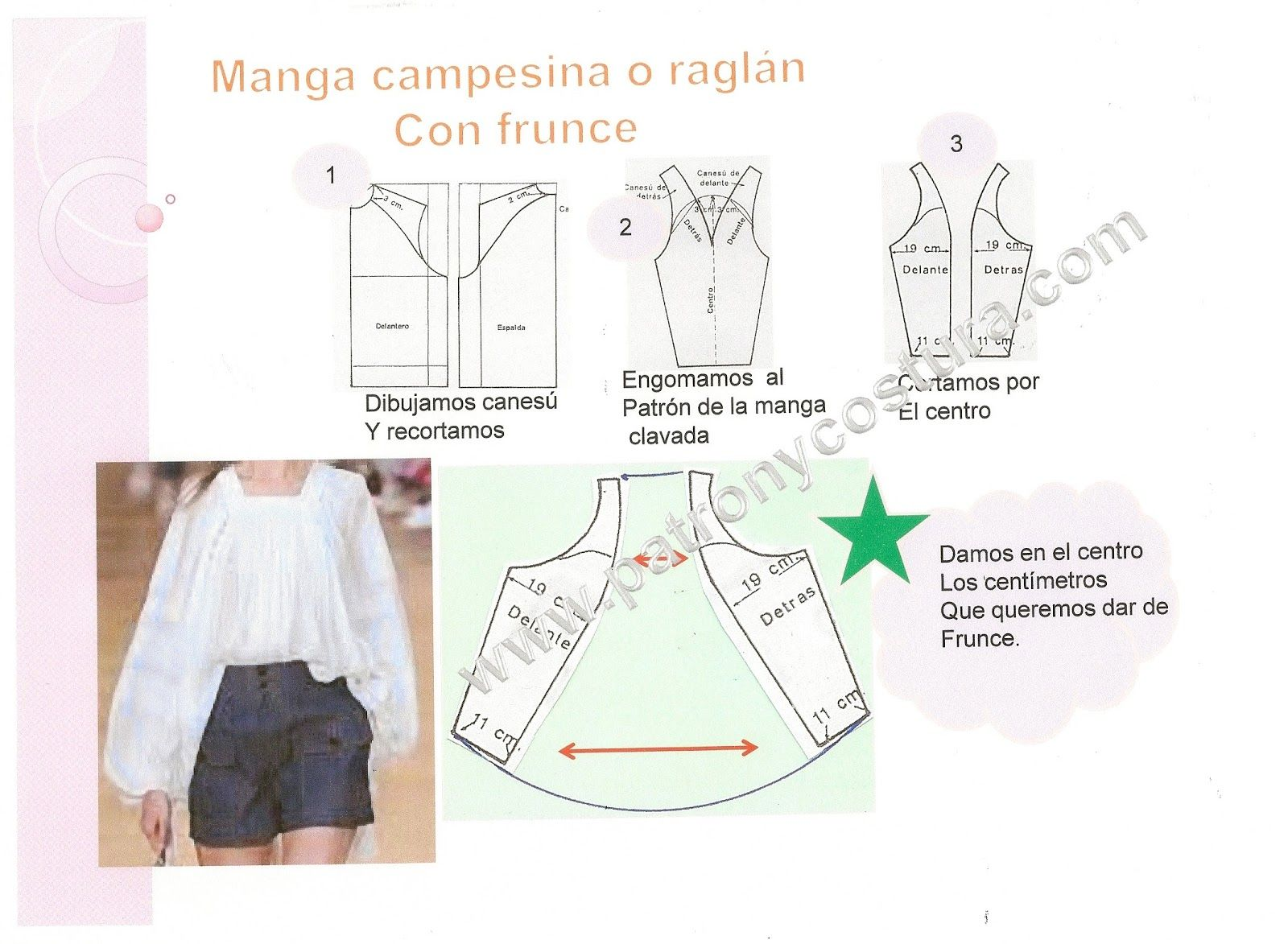 La manga de blusa campesina. Tema 138 | patrones | Costura, Manga y ...