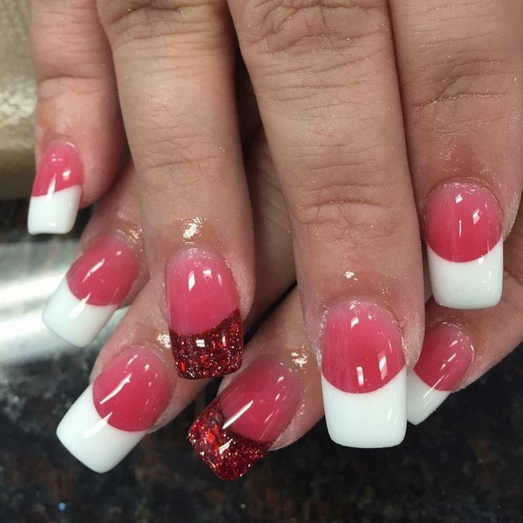 unghia rosse, una french manicure con smalto trasparente ...