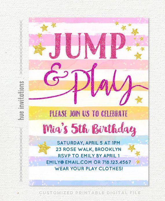 Jump Birthday Party Invitation Rainbow Girls 5th Tumble And Play Trampoline Bi
