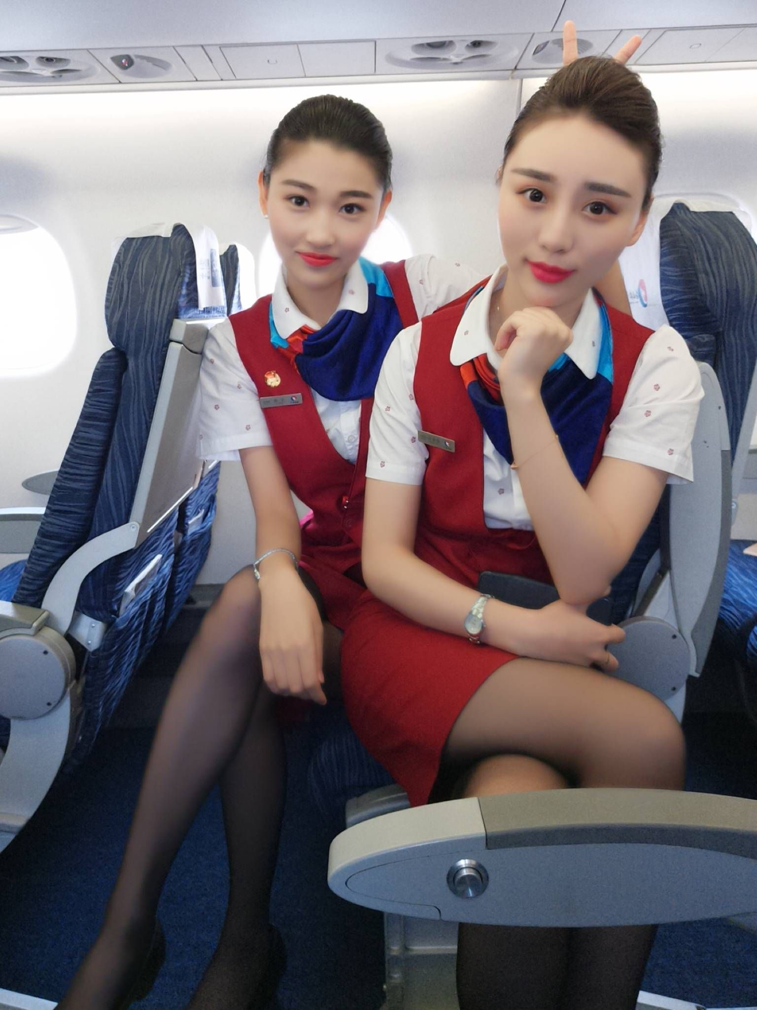 Sexy stewardess milf