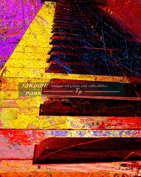 Looking for a A pianist gift idea? Maybe some piano wall decor? Maybe something unique, colorful and different? This piano artwork is a photo print and can be found on Takumi Park. The piano art is in different sizes with customization available. The piano art is $15.88 and up.