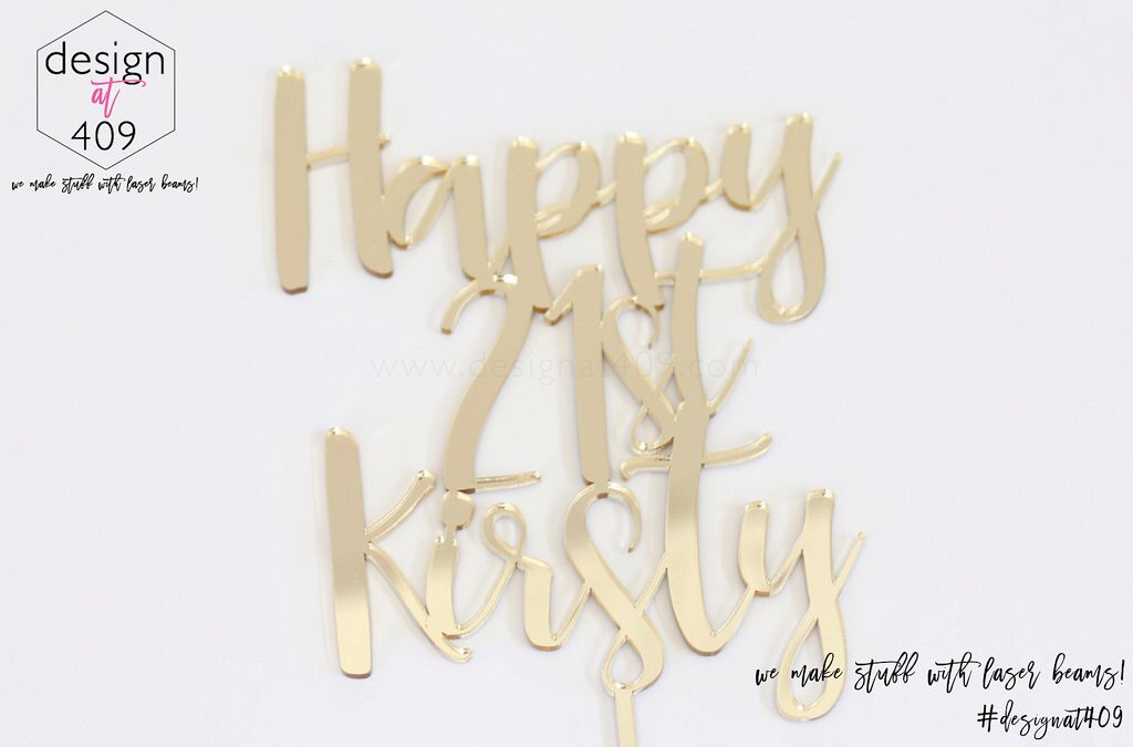 Happy 50th Birthday Cake Topper Acrylic Gold Mirror