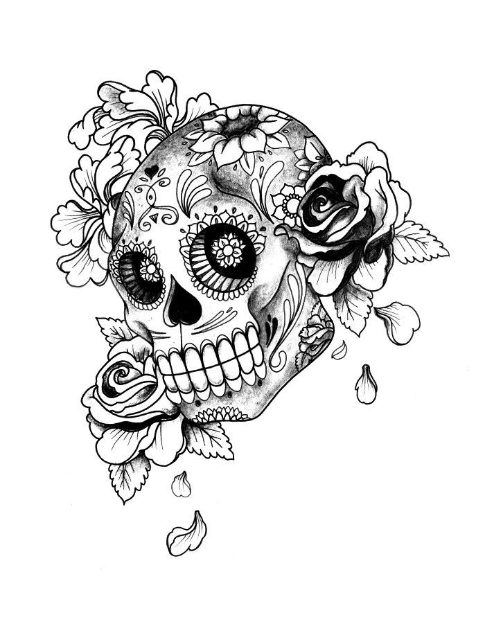 day of the dead skull tattoo artwork tattoo gallery ink trails tattoo forum coloring pages - Coloring Pages Roses Skulls
