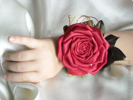 Мастер-класс Цумами Канзаши: Роза-канзаши. МК. Бусинки ...