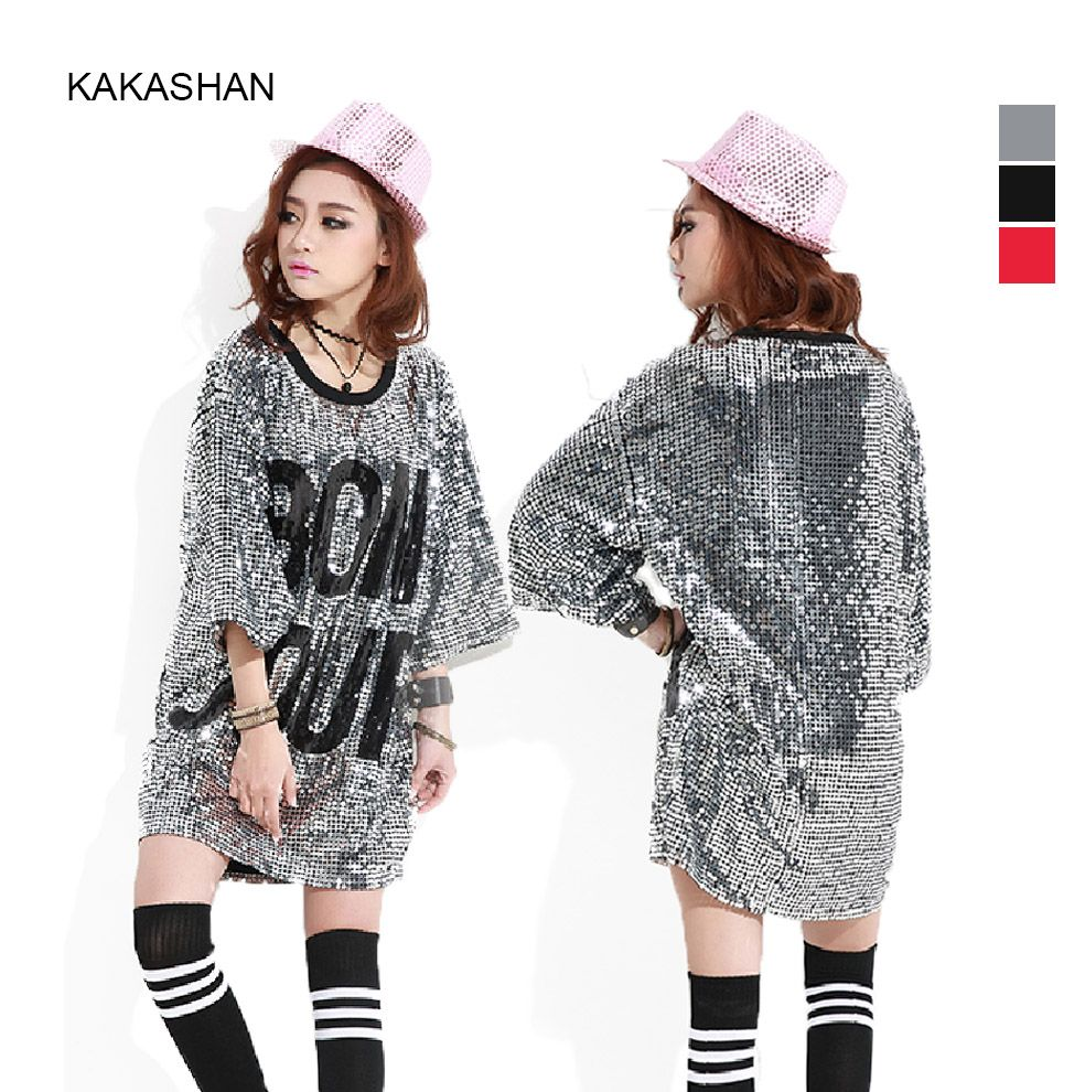 88b64d23 Find More T-Shirts Information about Harajuku Style Fashion Women Cool Long Sequin  T Shirt