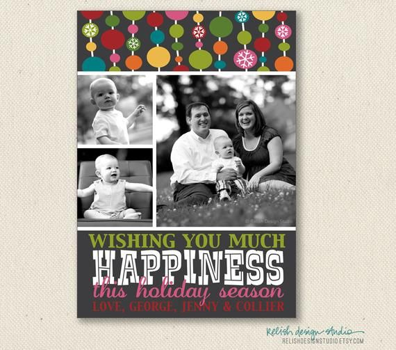 Printable Holiday Christmas Photo Card Colorful Polka Dots File Or Template Bo