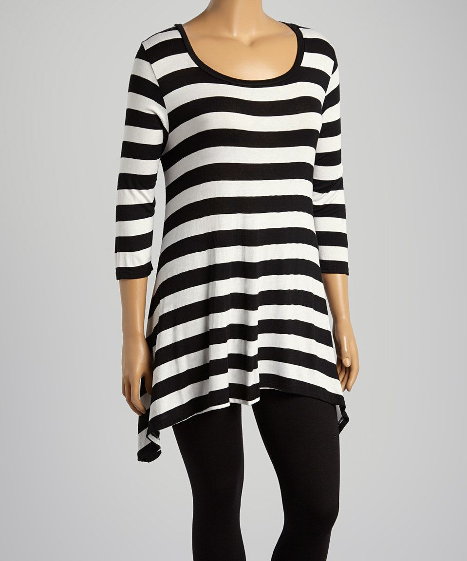 ed6e432ac87 Another great find on  zulily! Black   White Stripe Scoop Neck Top - Plus