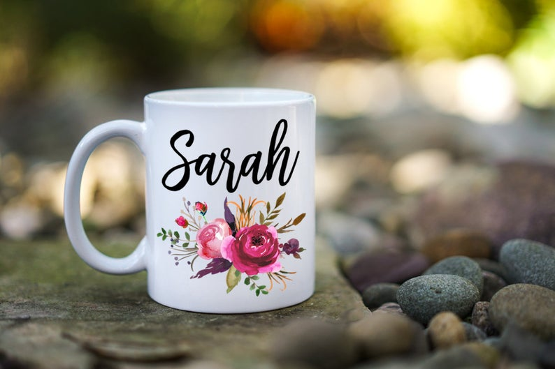 Floral Name Mug Custom Personalized Mug Monogram Mugs Gift