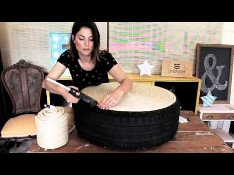 d i y como hacer un asiento con una rueda de coche youtube manualidades pinterest. Black Bedroom Furniture Sets. Home Design Ideas