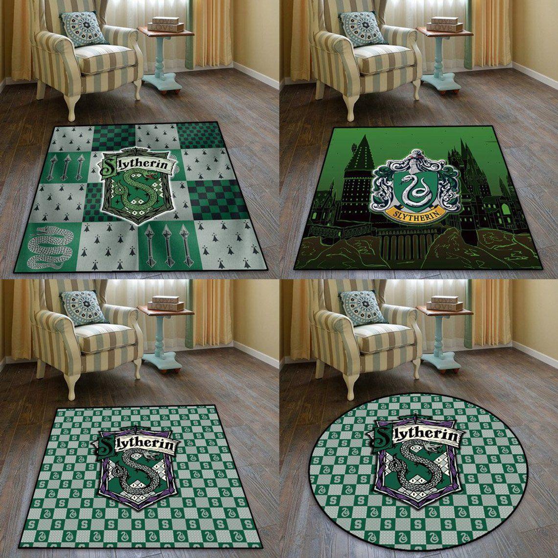 Slytherin Hogwarts Anime Cool Velboa Floor Rug Carpet Living Room
