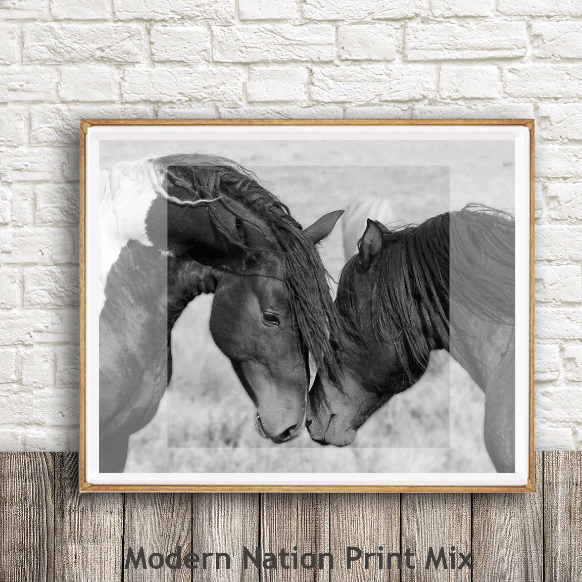Horse print black and white photography horse print wall art wild