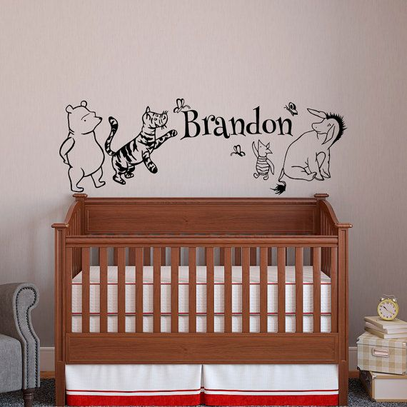 Classic Winnie The Pooh Baby Name Wall Decal Pooh Bear Tigger Eeyore Piglet Wall Decals Nurs Winnie The Pooh Nursery Personalized Baby Decor Name Wall Decor