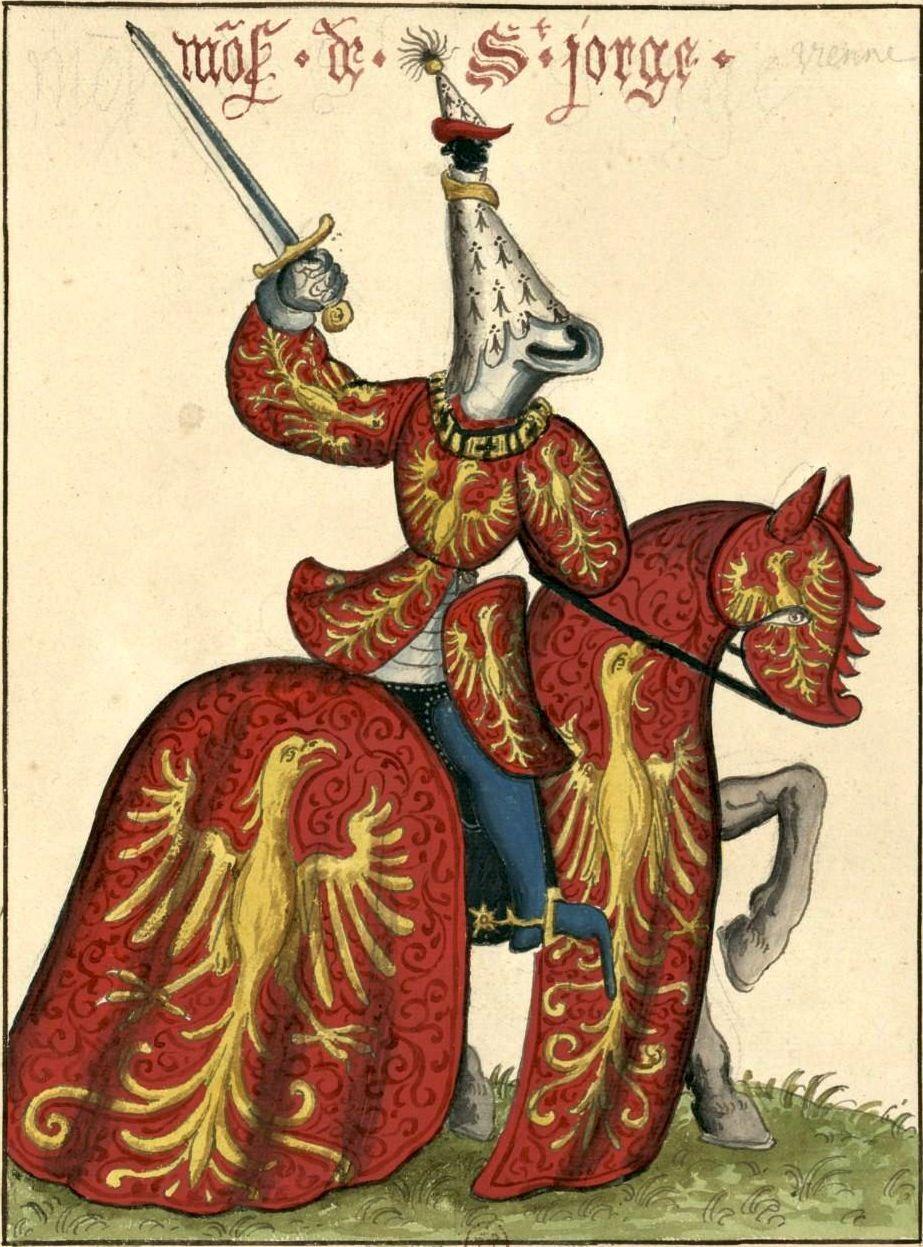 Chevalier De La Toison D'or : chevalier, toison, Guillaume, Vienne,, Saint-George,, Chevalier, Toison, (Gaignières, 1838), Aquarelle,, Fonds, Gaignières, [BNF…, Historique,, Dessin,, Saint, Georges