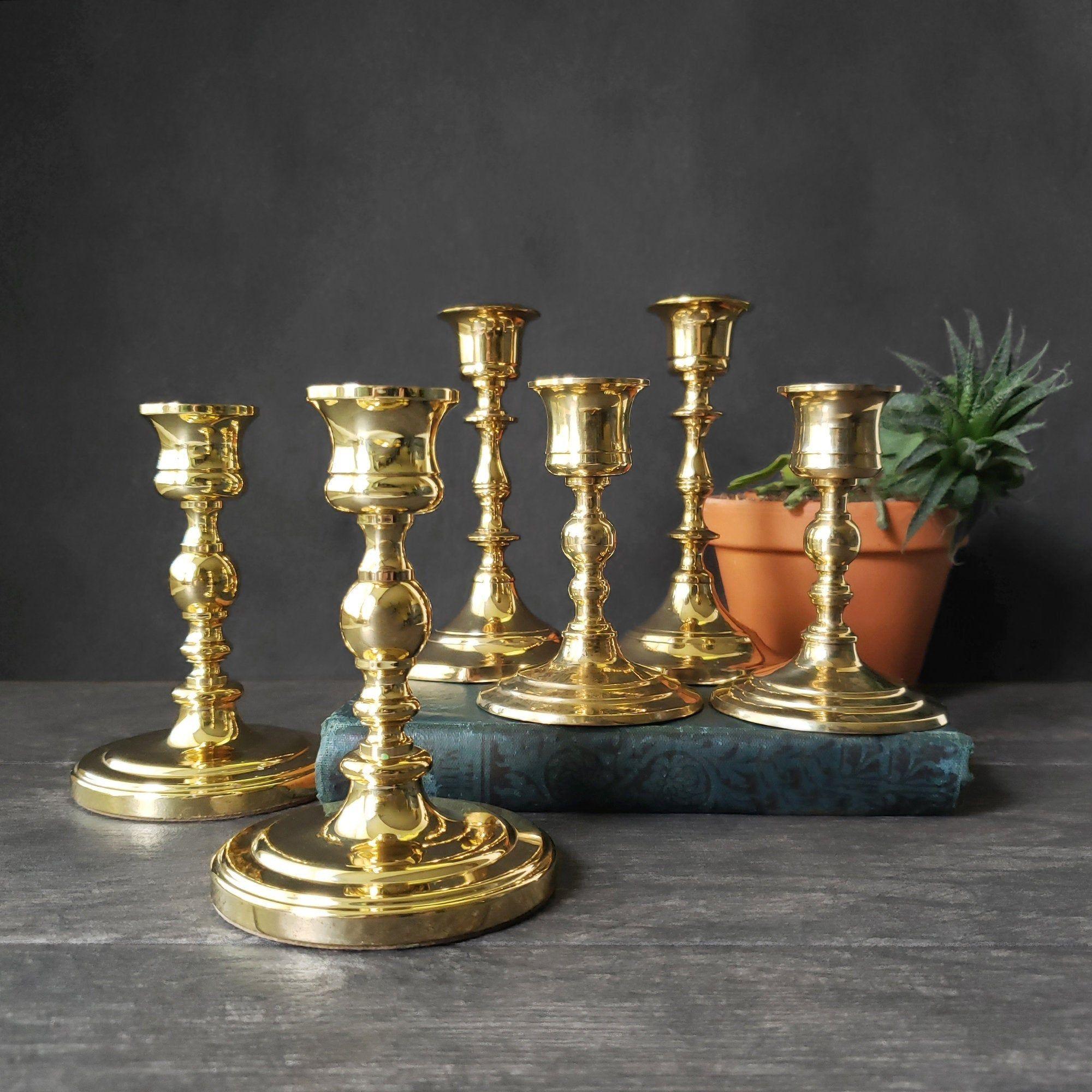 Vintage Brass 6 Mismatched candle holders