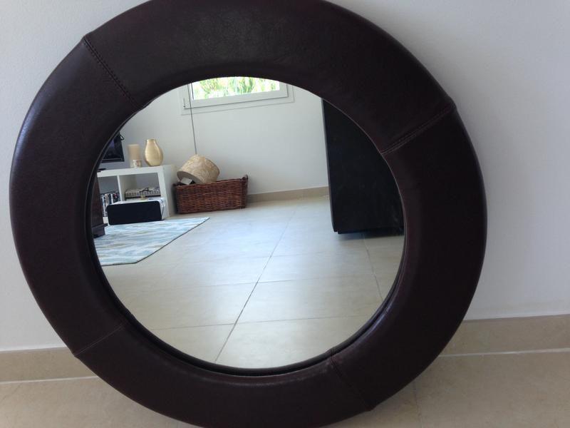 dubizzle dubai home decor accents brown leather round mirror