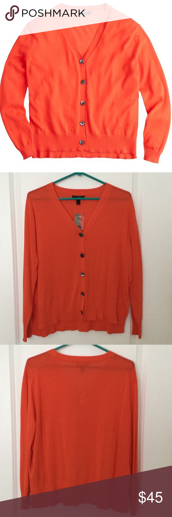 Bright Orange Summer Cardigan A classic V-neck cardigan made with ...