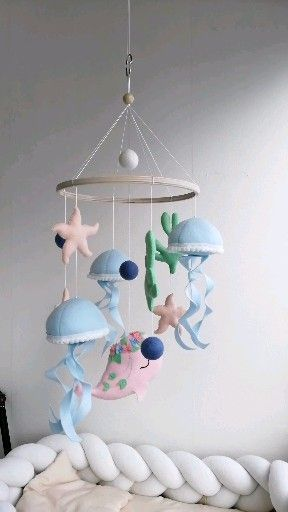 Jellyfish modern mobile, nautical baby nursery, ocean baby shower gift