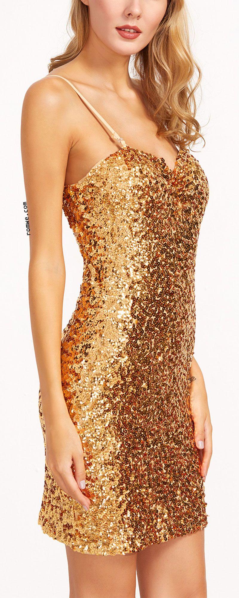 Gold sequin sheath slip dress pretty outfits pretty