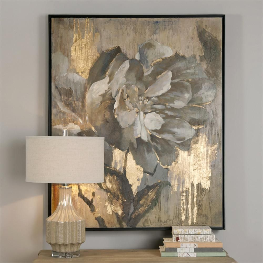 Elegant Flower Artwork With Metallic Gold Highlights Abstract Painting Canvas Wall Art Canvas Painting