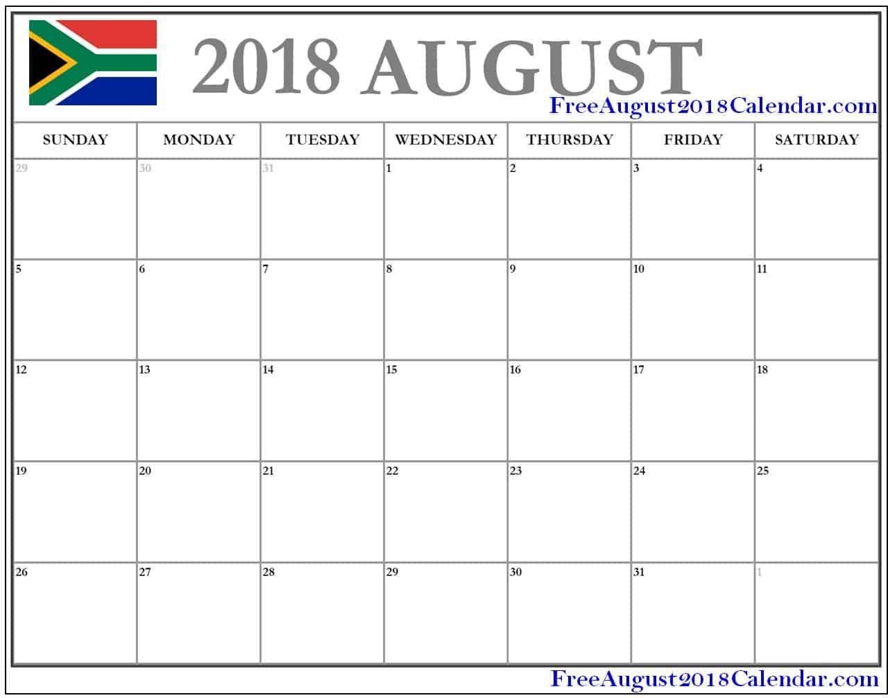 August 2018 Calendar South Africa 2018 calendar template