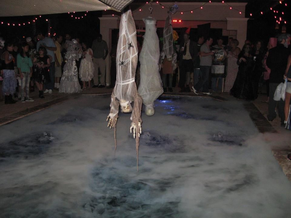 Dry ice in pool halloween party check out my other - Halloween swimming pool decorations ...