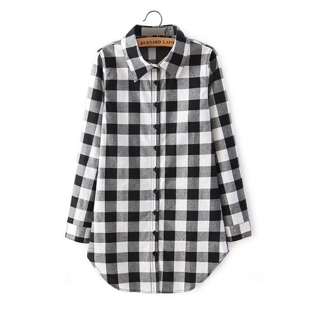 Flannel shirt plus size  Casual Shirt Collar Long Sleeve Plaid Print Shirt Dress For Women