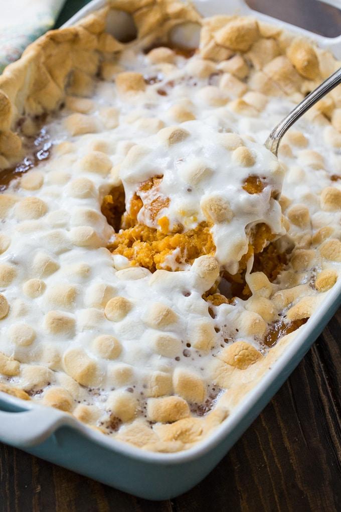 Sweet Potato Casserole with Marshmallows #sweetpotatocasserolewithmarshmallows