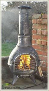 Castmaster Mexican Aztec Style Cast Iron Chiminea Chimenea Bbq Patio Heater Pw