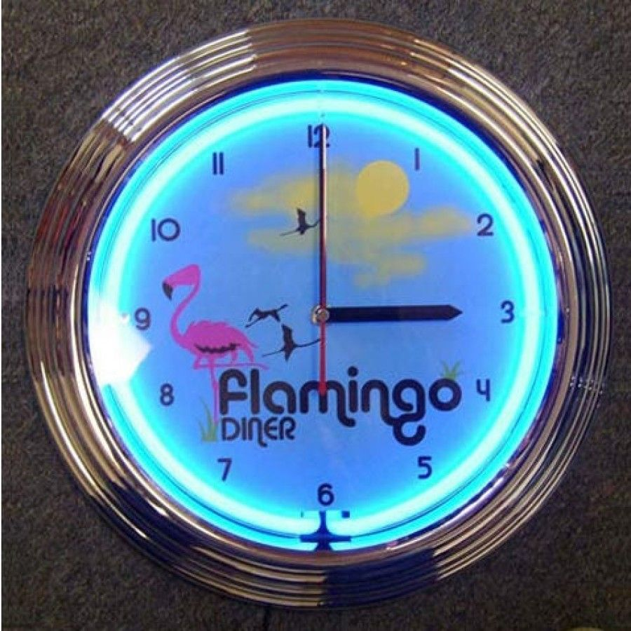 Flamingo Diner Neon Clock flamingodinerneon