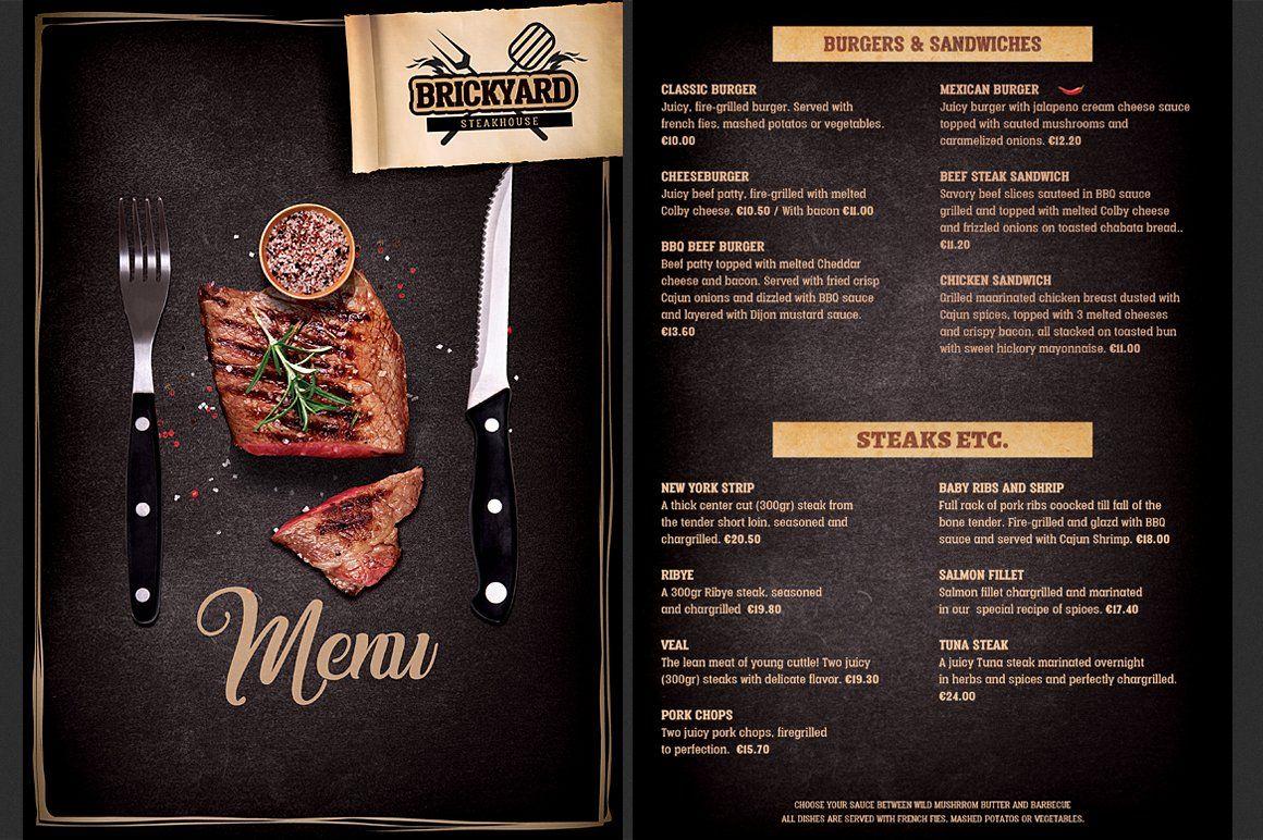 Steak House Food Menu Food Menu Template Food Menu Bbq Menu Design