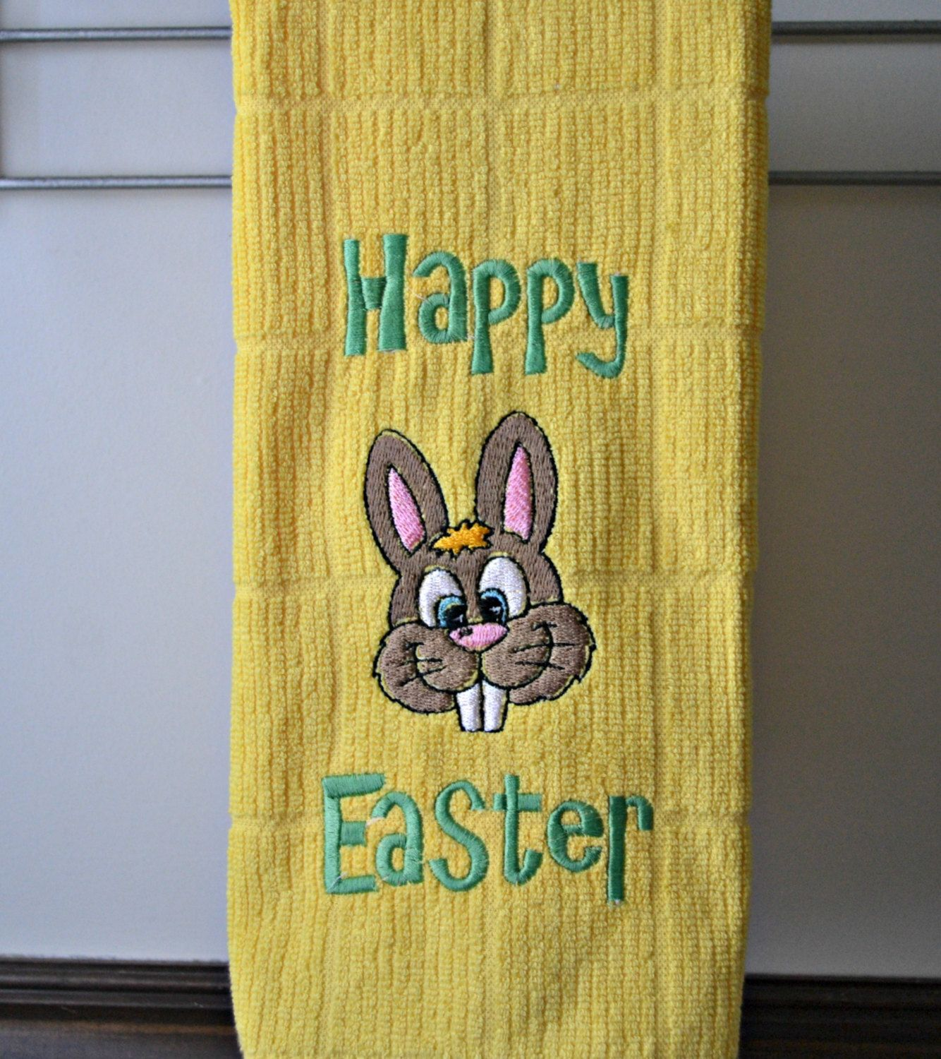 Easter Towel  with Bunny / Happy Easter Embroidered Towel by StaziesStitchsNStuff on Etsy