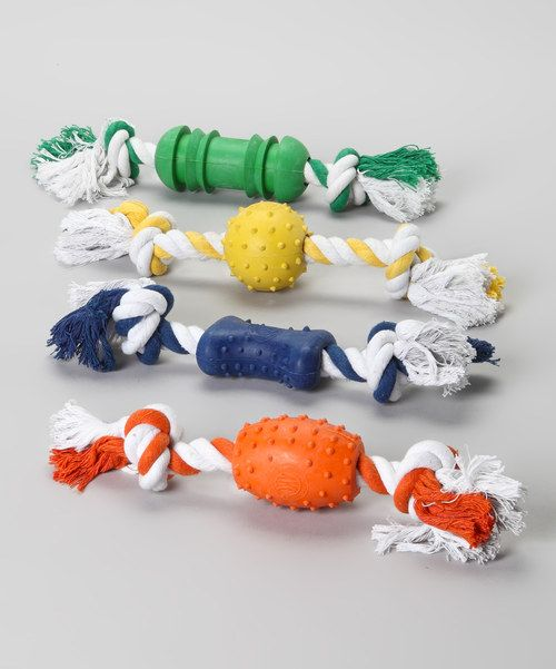 Engage in tail-wagging games of tug-of-war with these double-play chew toys. Rope ends and textured rubber centers offer multiple forms of entertainment. Includes four toys2'' W x 2'' H x 11'' DRubber / cotton / polyesterImported