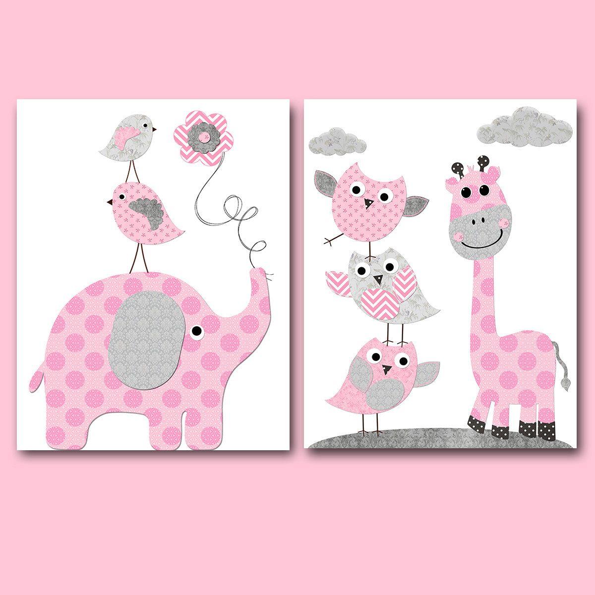Owl Bedroom Decor Pink Gray Elephant Giraffe Wall Decor Owl Wall Decor Canvas Print