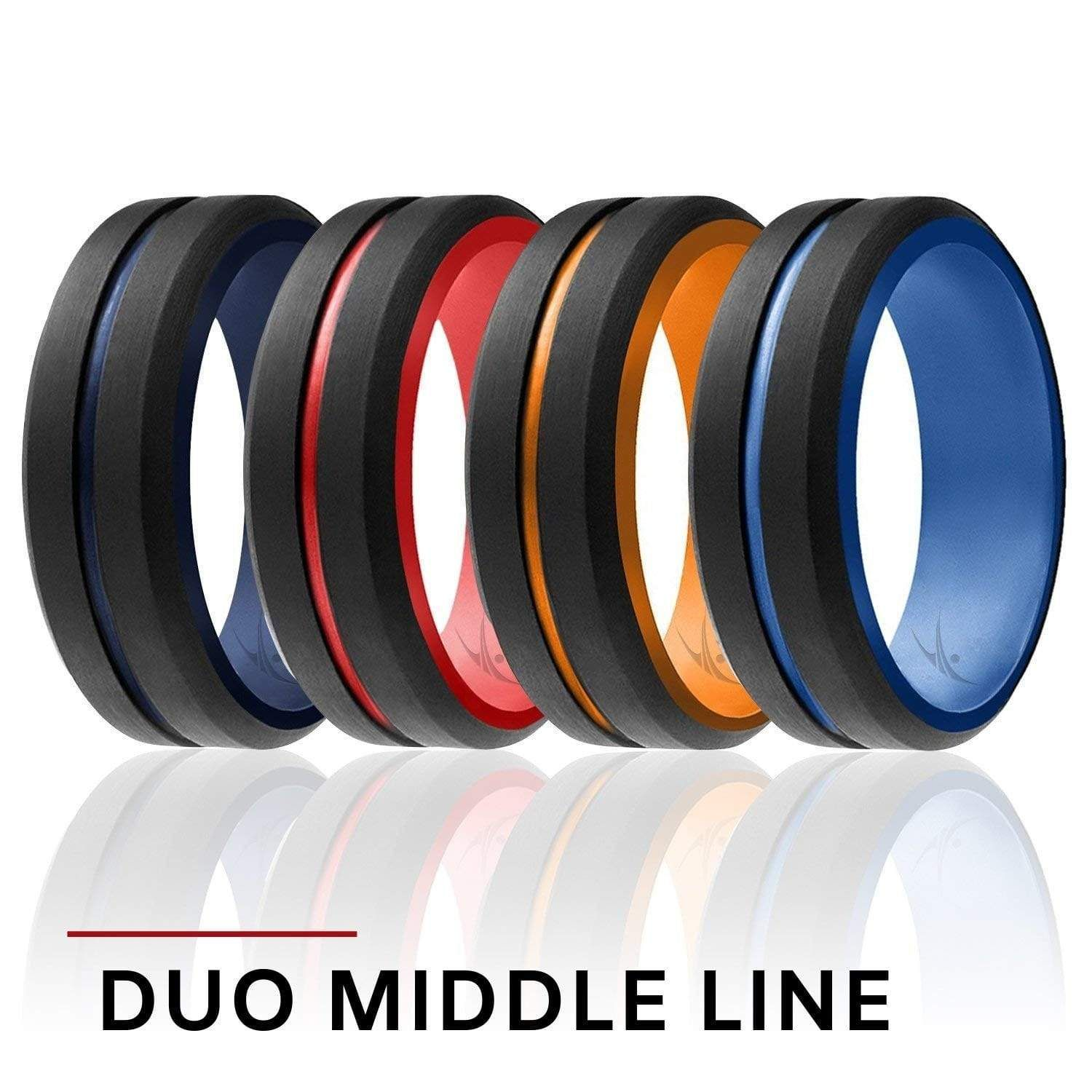 4 Pack Silicone Ring for Men Engraved Middle Line in