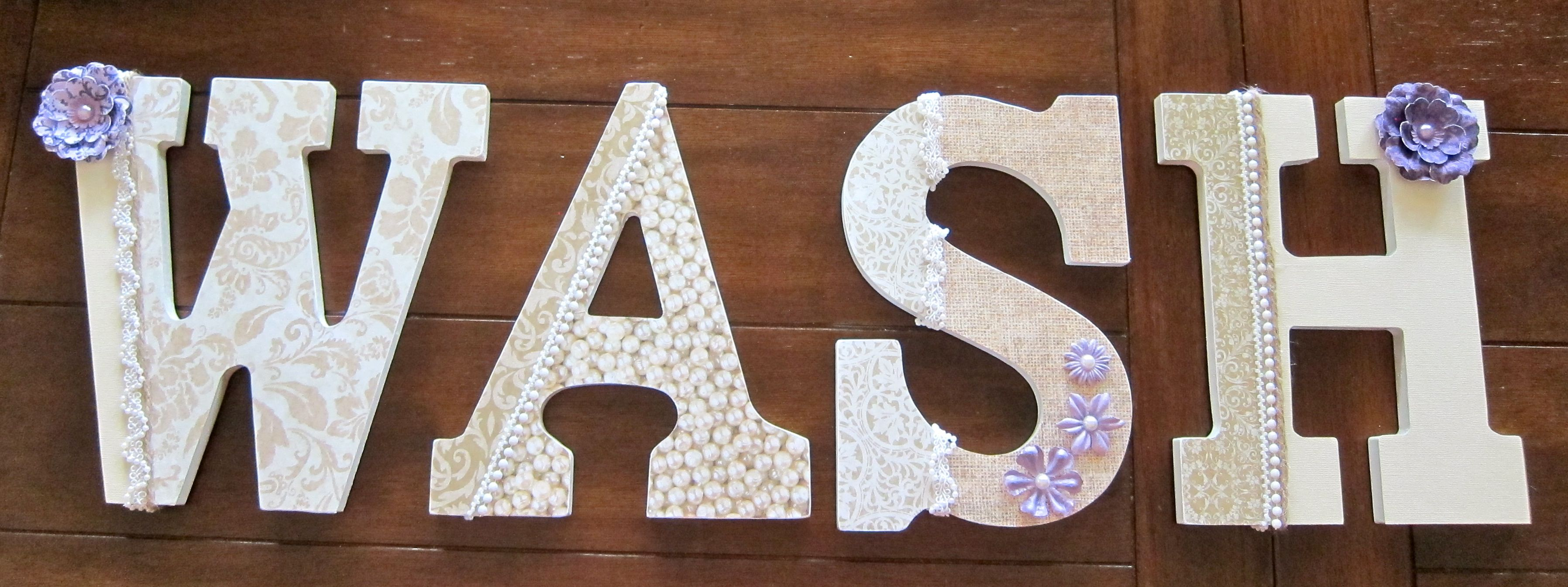 """9"""" Decoupaged Custom Wooden Letters for the Laundry Room by DecorativeDecoupage on Etsy!"""