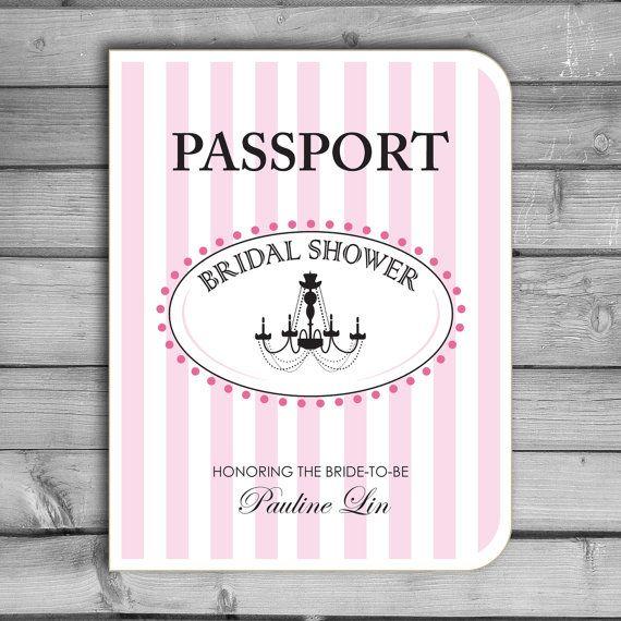 customized bridal shower invitations paris parisian themed passport chandelier