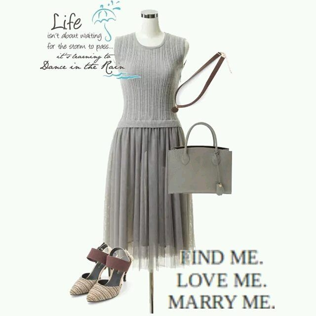 #dress #bag #knit #sandals #coordinate #collection #grey #fw #tokyo #iQON #pintarest #mao_pak #o_range o(^-^o)(o^-^)o