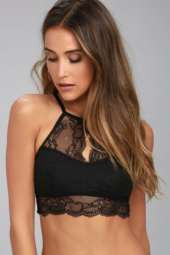 f48447b59b  AdoreWe  Lulus Womens❤️Designer Lucky to Be in Love Black Lace Bralette -