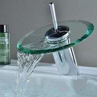 Glass Waterfall Bathroom Kitchen Sink Round Basin Faucet Single Lever Mixer Tap Wish Modern Bathroom Faucets Bathroom Faucets Bathroom Sink Taps