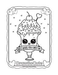 coloring page valentine ice cream sundae drawsocute print outs