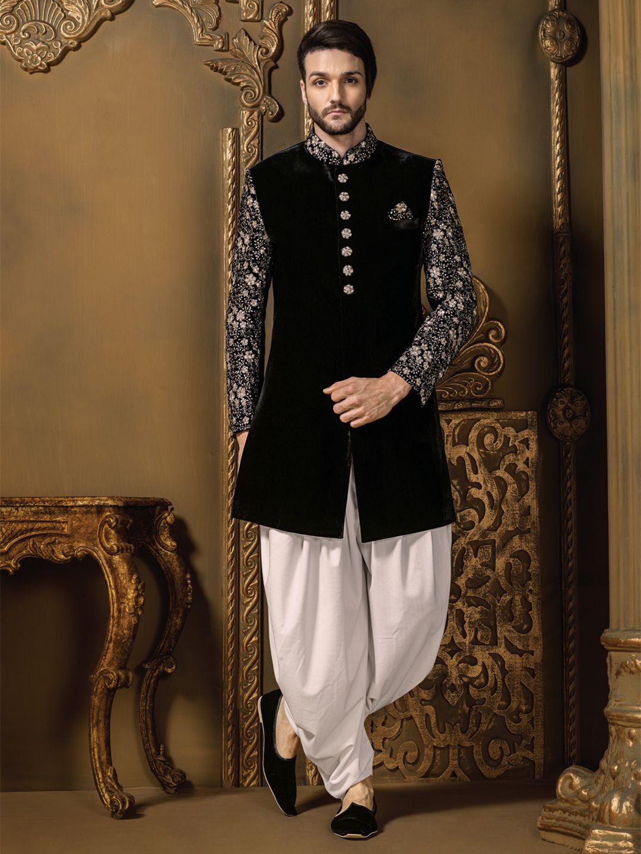 Black wedding wear velvet men indo western for price or for Indo western wedding dress for men