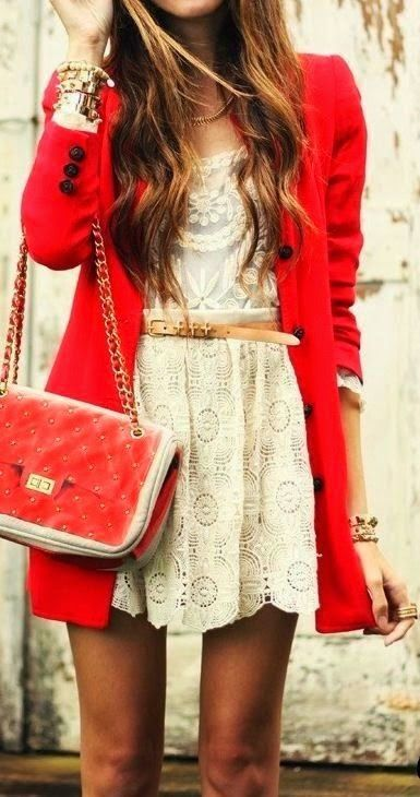 Lace Mini Dress, Belt And Cool Red Coat With Handbag Love This Casual Dress